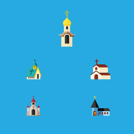 Flat Icon Building Set Of Christian, Traditional, Architecture And Other Vector Objects. Illustration
