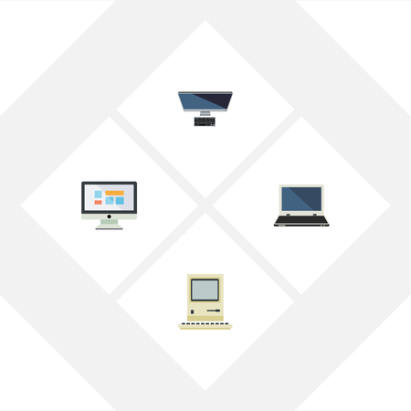 lcd display: Flat Icon Laptop Set Of PC, Notebook, Computing And Other Vector Objects
