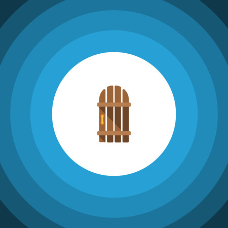 Wooden Fence Vector Element Can Be Used For Wooden, Fence, Gate Design Concept.  Isolated Gate Flat Icon.