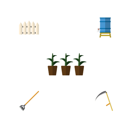 Flat Icon Dacha Set Of Flowerpot, Container, Wooden Barrier And Other Vector Objects Illustration