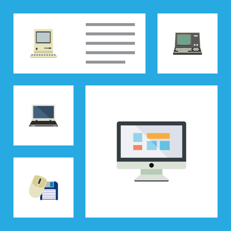 Flat Icon Computer Set Of Technology, Computing, Computer Mouse And Other Vector Objects
