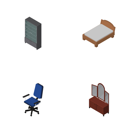 arredamento classico: Isometric Design Set Of Bedstead, Drawer, Office And Other Vector Objects Vettoriali