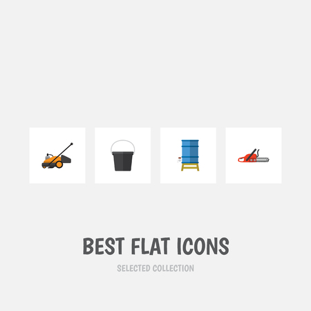 steel industry: Flat Icon Garden Set Of Lawn Mower, Container, Pail And Other Vector Objects
