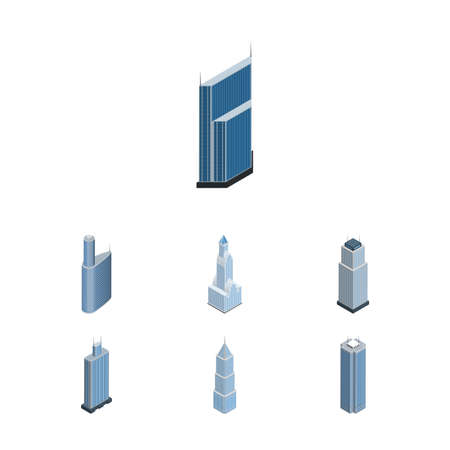 office building: Isometric Building Set Of Business Center, Exterior, Skyscraper And Other Vector Objects Illustration
