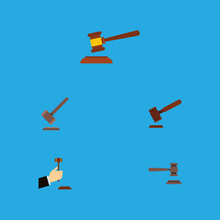 Flat Icon Lawyer Set Of Hammer, Tribunal, Justice And Other Vector Objects Illustration