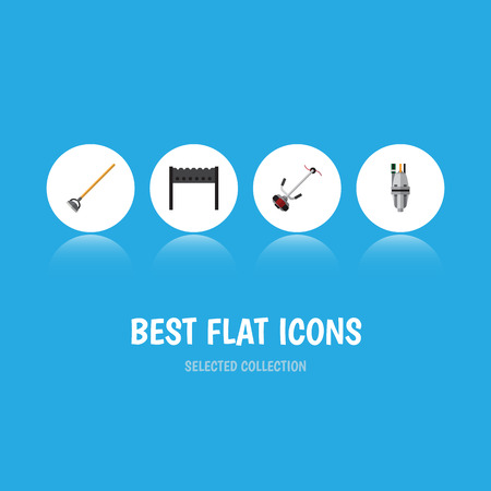 Flat Icon Farm Set Of Tool, Barbecue, Grass-Cutter And Other Vector Objects