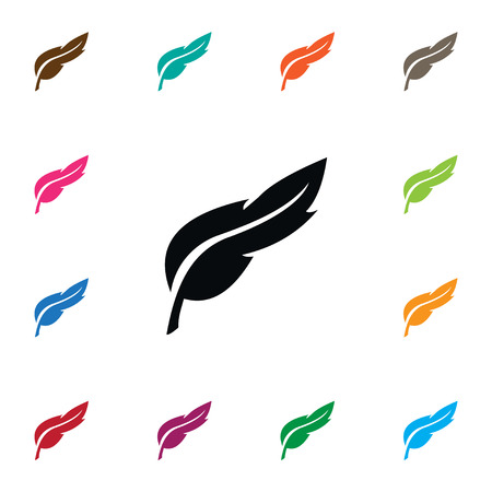 Feather Vector Element Can Be Used For Plume, Feather, Pen Design Concept.  Isolated Pen Icon.