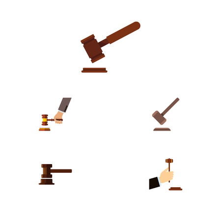 Flat Icon Hammer Set Of Law, Justice, Crime And Other Vector Objects