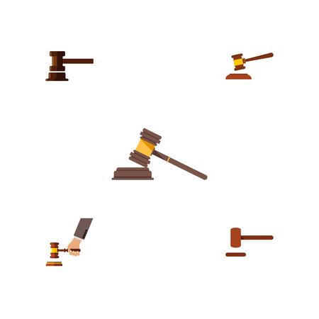 Platte pictogram Hof Set van Hof, overheidsgebouw, criminaliteit en andere Vectorobjecten
