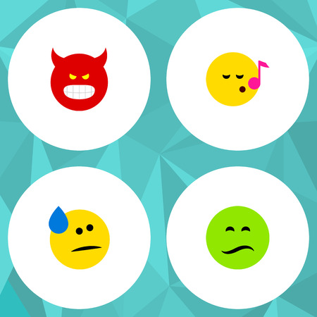 Flat Icon Emoji Set Of Tears, Descant, Frown And Other Vector Objects