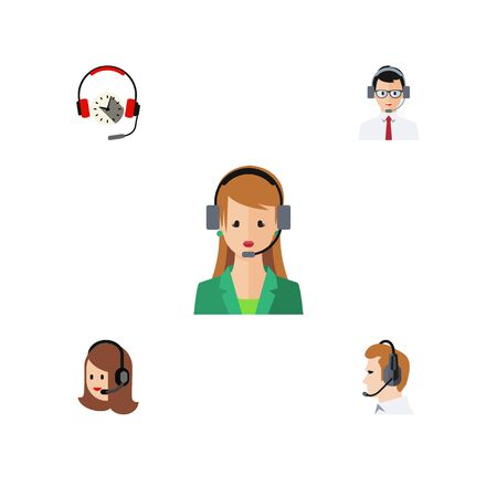 Flat Icon Center Set Of Secretary, Headphone, Service And Other Vector Objects Illustration