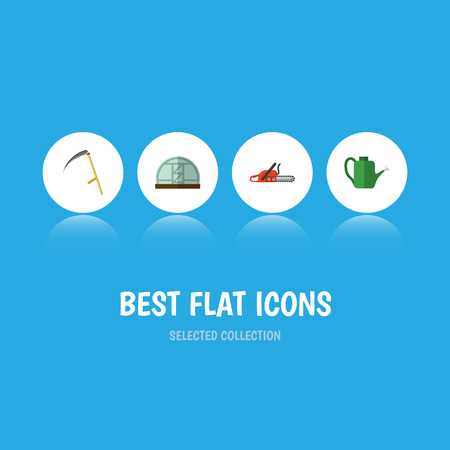 Flat Icon Farm Set Of Hothouse, Bailer, Hacksaw And Other Vector Objects Illustration