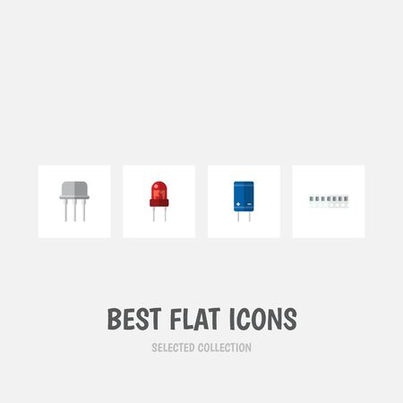 Flat Icon Device Set Of Memory, Resist, Transistor And Other Vector Objects