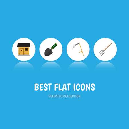Flat Icon Dacha Set Of Hay Fork, Trowel, Cutter And Other Vector Objects