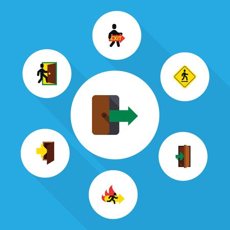 doorknob: Flat Icon Door Set Of Exit, Directional, Fire Exit And Other Vector Objects Illustration