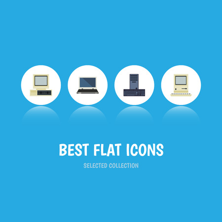 Flat Icon Laptop Set Of Computer, Notebook, Processor And Other Vector Objects Illustration