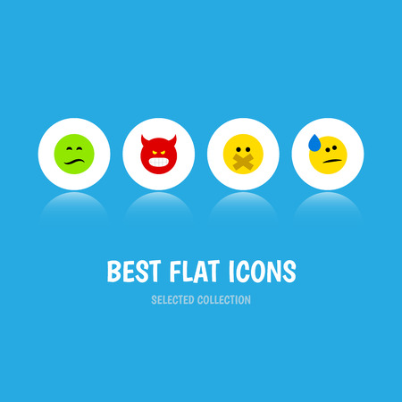 indignant: Flat Icon Emoji Set Of Pouting, Tears, Frown And Other Vector Objects Illustration