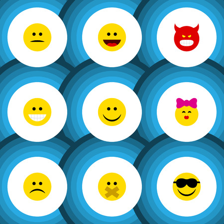 Flat Icon Expression Set Of Grin, Laugh, Pouting And Other Vector Objects