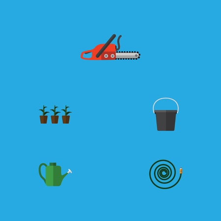 Flat Icon Farm Set Of Flowerpot, Hosepipe, Hacksaw And Other Vector Objects