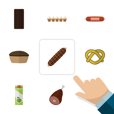 Flat Icon Food Set Of Smoked Sausage, Kielbasa, Meat And Other Vector Objects Illustration
