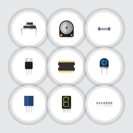 Flat Icon Device Set Of Microprocessor, Memory, Transducer And Other Vector Objects Illustration
