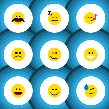 Flat Icon Gesture Set Of Grin, Asleep, Tears And Other Vector Objects