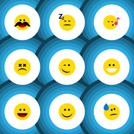 Plano icono gesto conjunto de mueca, dormido, lágrimas y otros objetos vectoriales Ilustración de vector
