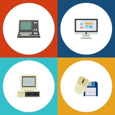 Flat Icon Laptop Set Of Computer Mouse, Display, Technology And Other Vector Objects