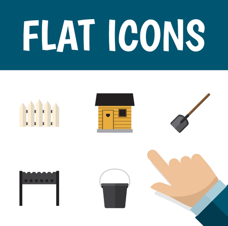 Flat Icon Farm Set Of Barbecue, Stabling, Shovel And Other Vector Objects