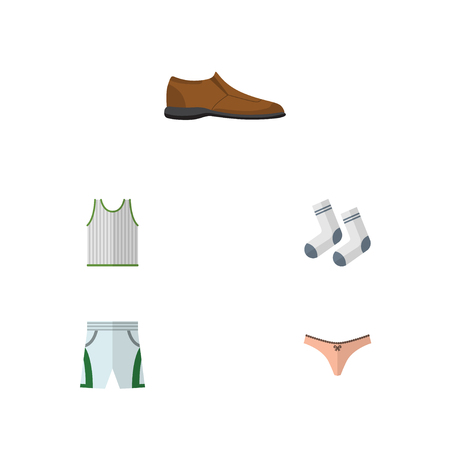 Flat Icon Dress Set Of Male Footware, Trunks Cloth, Lingerie And Other Vector Objects