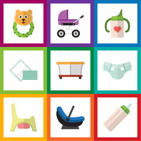 toy toilet bowl: Flat Icon Infant Set Of Nappy, Napkin, Playground And Other Vector Objects