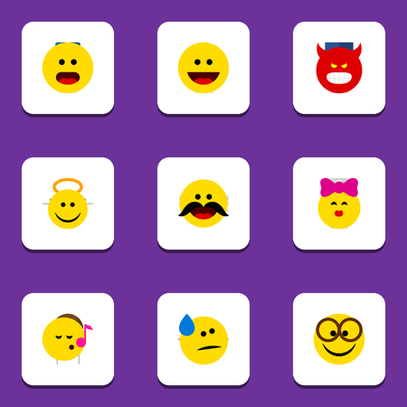Flat Icon Face Set Of Cheerful, Pouting, Wonder And Other Vector Objects Illustration
