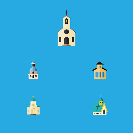 Flat Icon Christian Set Of Religious, Architecture, Catholic And Other Vector Objects