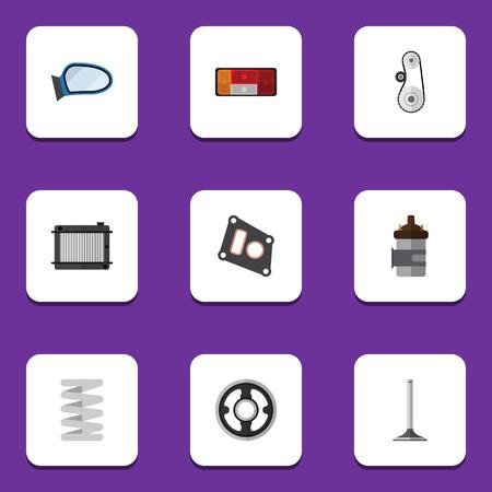 Flat Icon Parts Set van verwarmer, krukas, autosegment en andere vector objecten
