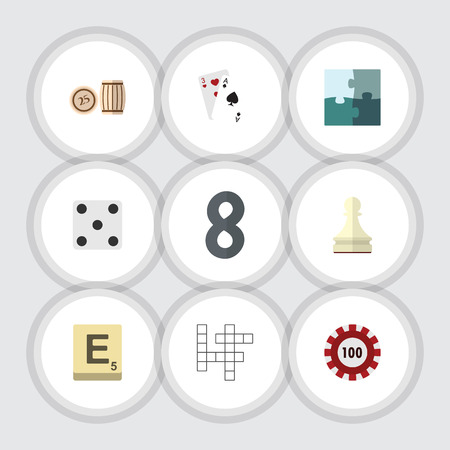 Flat Icon Games Set Of Mahjong, Jigsaw, Pawn And Other Vector Objects