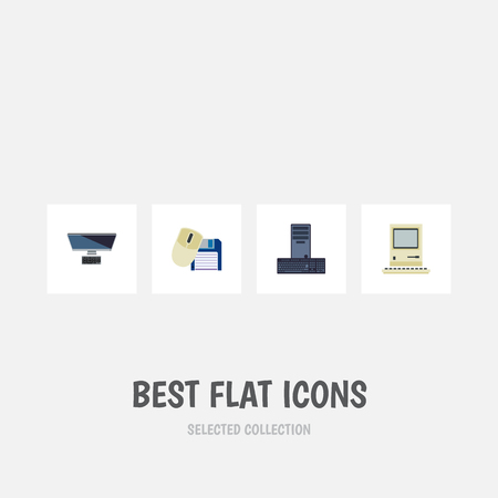 computerized: Flat Icon Laptop Set Of Computer Mouse, Computing, Processor And Other Vector Objects