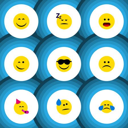 Flat Icon Expression Set of Dormido, feliz, Emoticon de fiesta y otros objetos vectoriales Ilustración de vector