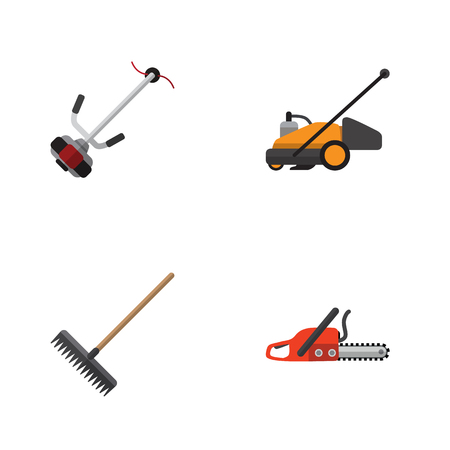 Flat Icon Farm Set Of Grass-Cutter, Lawn Mower, Harrow And Other Vector Objects Illustration
