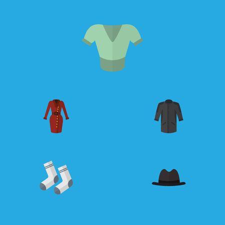 Icône plate vêtements ensemble de Casual, vêtements, pied Textile et autres objets vectoriels Banque d'images - 83768647