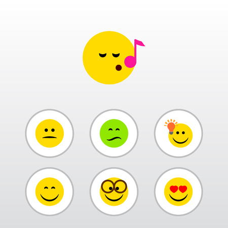 Flat Icon Emoji Set Of Pleasant, Frown, Smile And Other Vector Objects