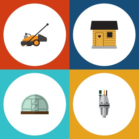 Flat Icon Farm Set Of Lawn Mower, Stabling, Hothouse And Other Vector Objects