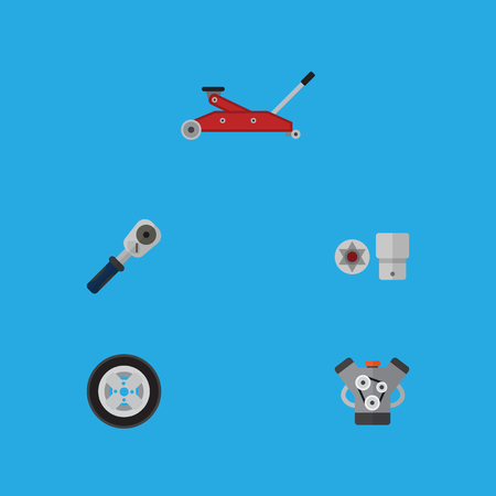 Flat Icon Auto Set Of Motor, Tire, Ratchet And Other Vector Objects Illustration