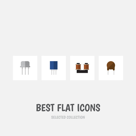 Flat Icon Appliance Set Of Coil Copper, Receptacle, Resist And Other Vector Objects