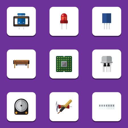 Flat Icon Device Set Of Recipient, Bobbin, Resist And Other Vector Objects Illustration