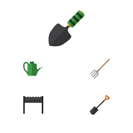 Flat Icon Farm Set Of Hay Fork, Barbecue, Bailer And Other Vector Objects