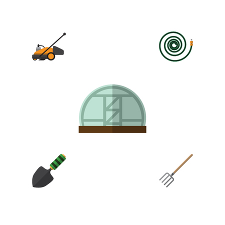 Flat Icon Garden Set Of Hosepipe, Hay Fork, Lawn Mower And Other Vector Objects Illustration