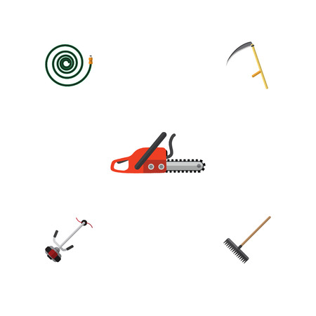 Flat Icon Farm Set Of Cutter, Hosepipe, Harrow And Other Vector Objects