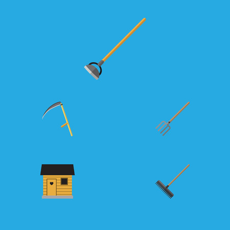 Flat Icon Dacha Set Of Tool, Harrow, Cutter And Other Vector Objects