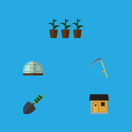 Flat Icon Garden Set Of Stabling, Trowel, Hothouse And Other Vector Objects