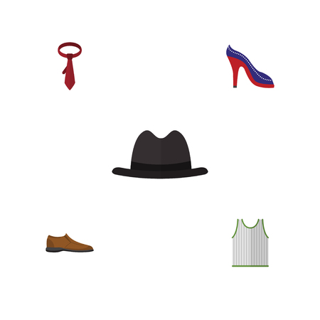 Flat Icon Garment Set Of Singlet, Cravat, Male Footware And Other Vector Objects